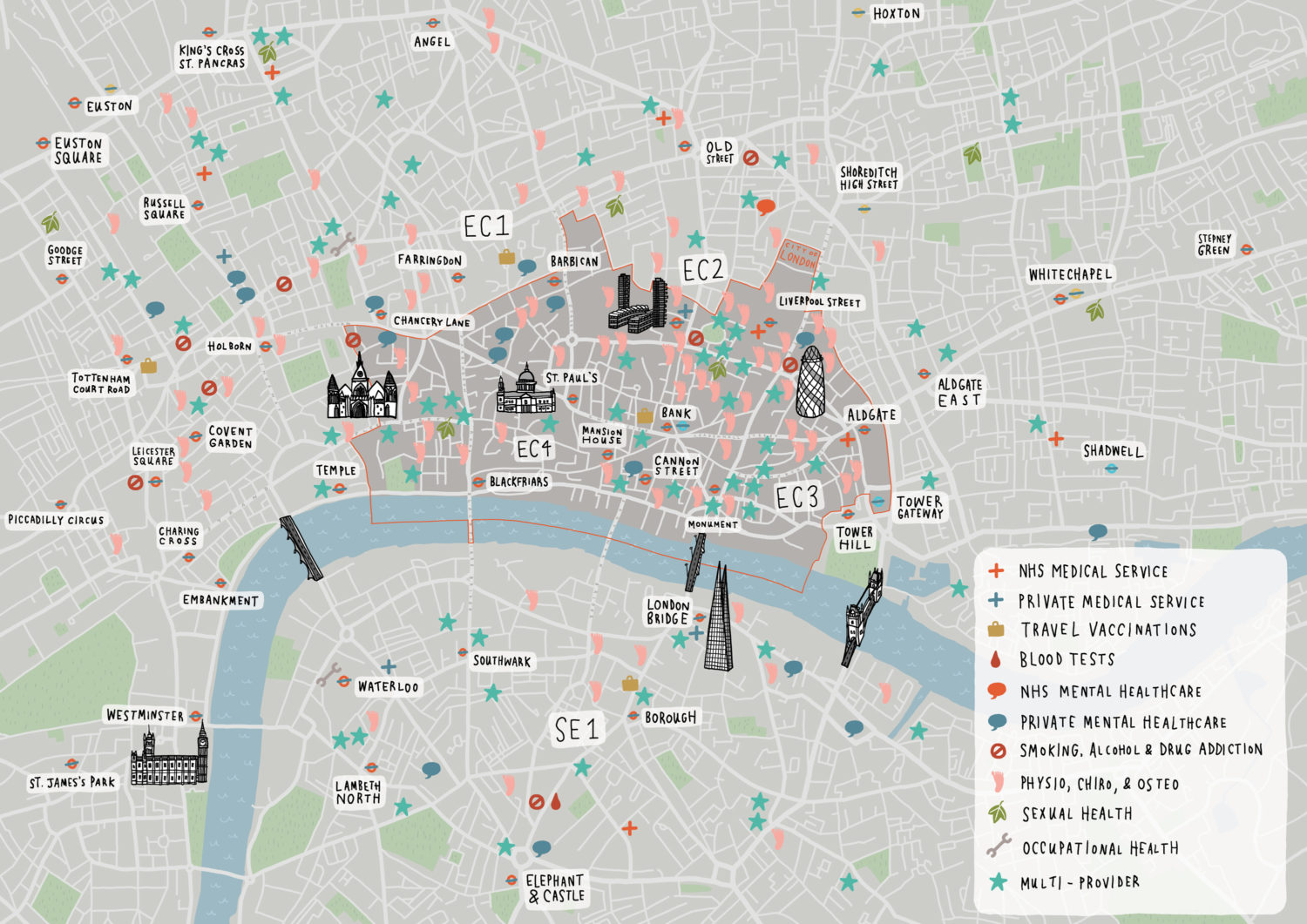 City Of London Healthcare Map Laura Barnard Map Illustrator