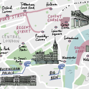 London illustrated map with landmarks crop