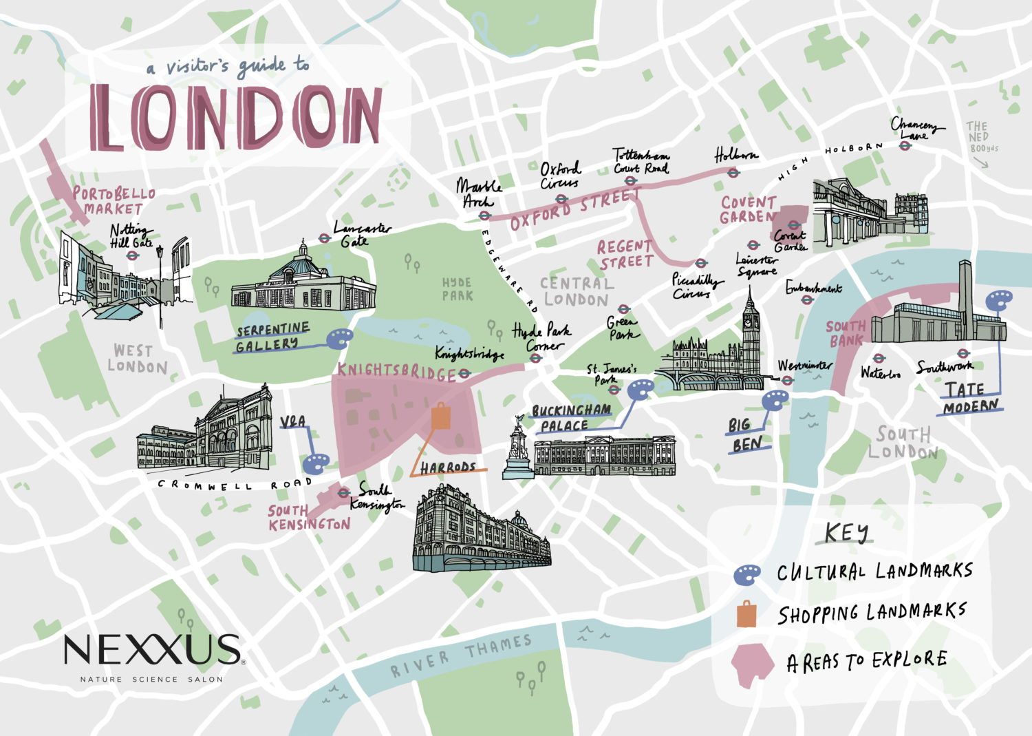 London illustrated map with landmarks