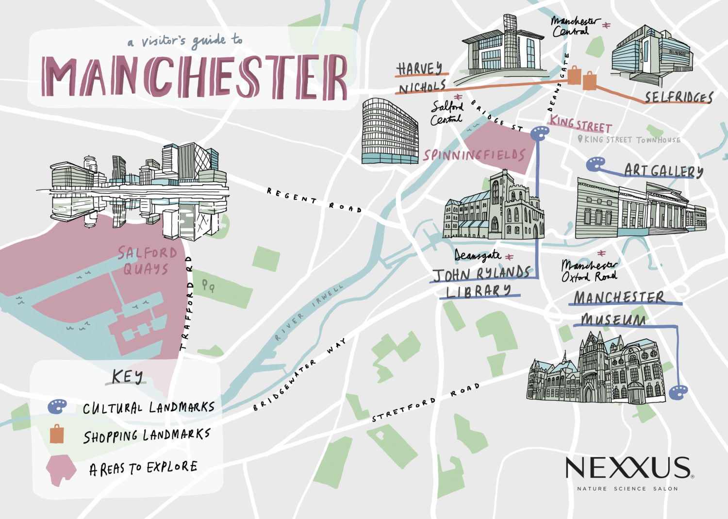 Manchester illustrated map with landmarks