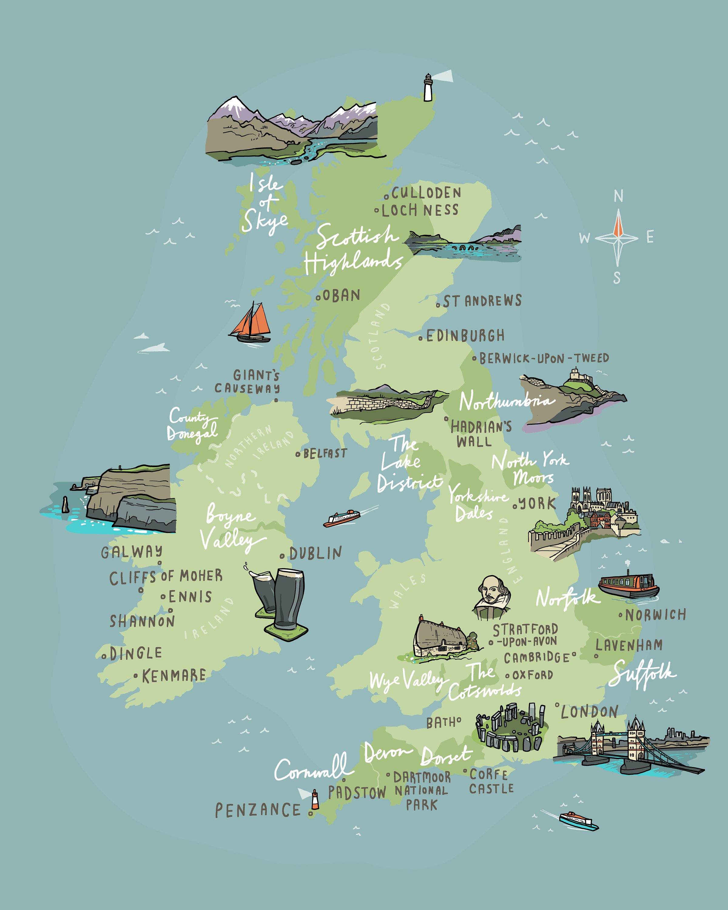 wanderlust uk ireland illustrated map
