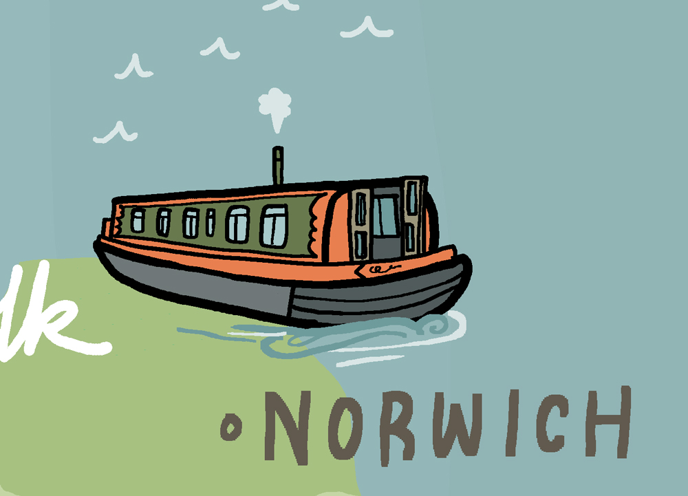 wanderlust uk ireland illustrated map norwich
