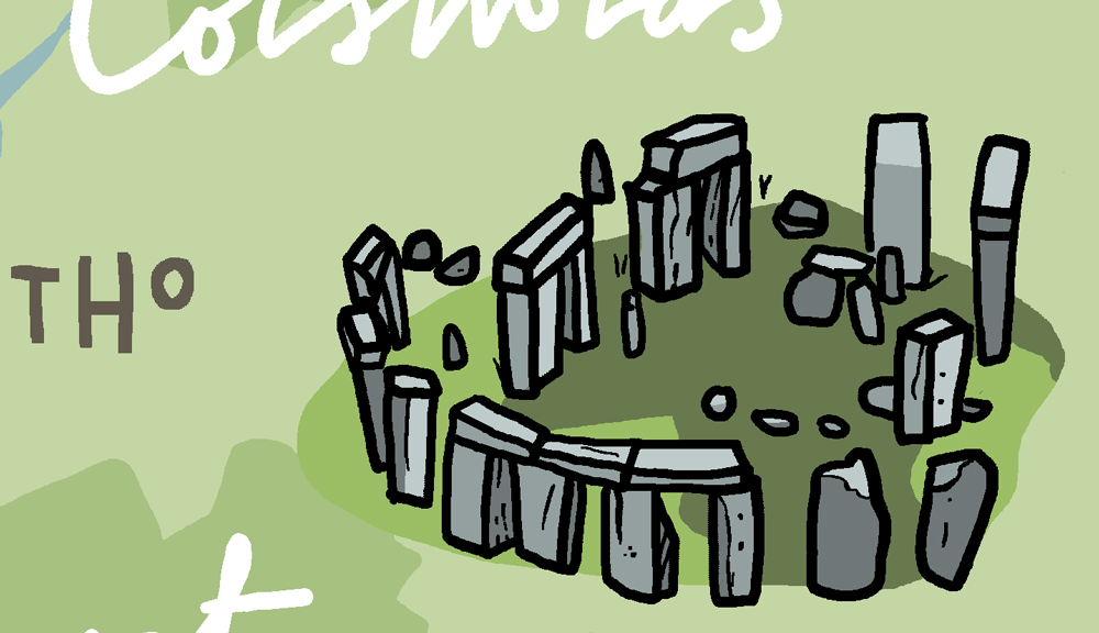 wanderlust uk ireland illustrated map stone henge