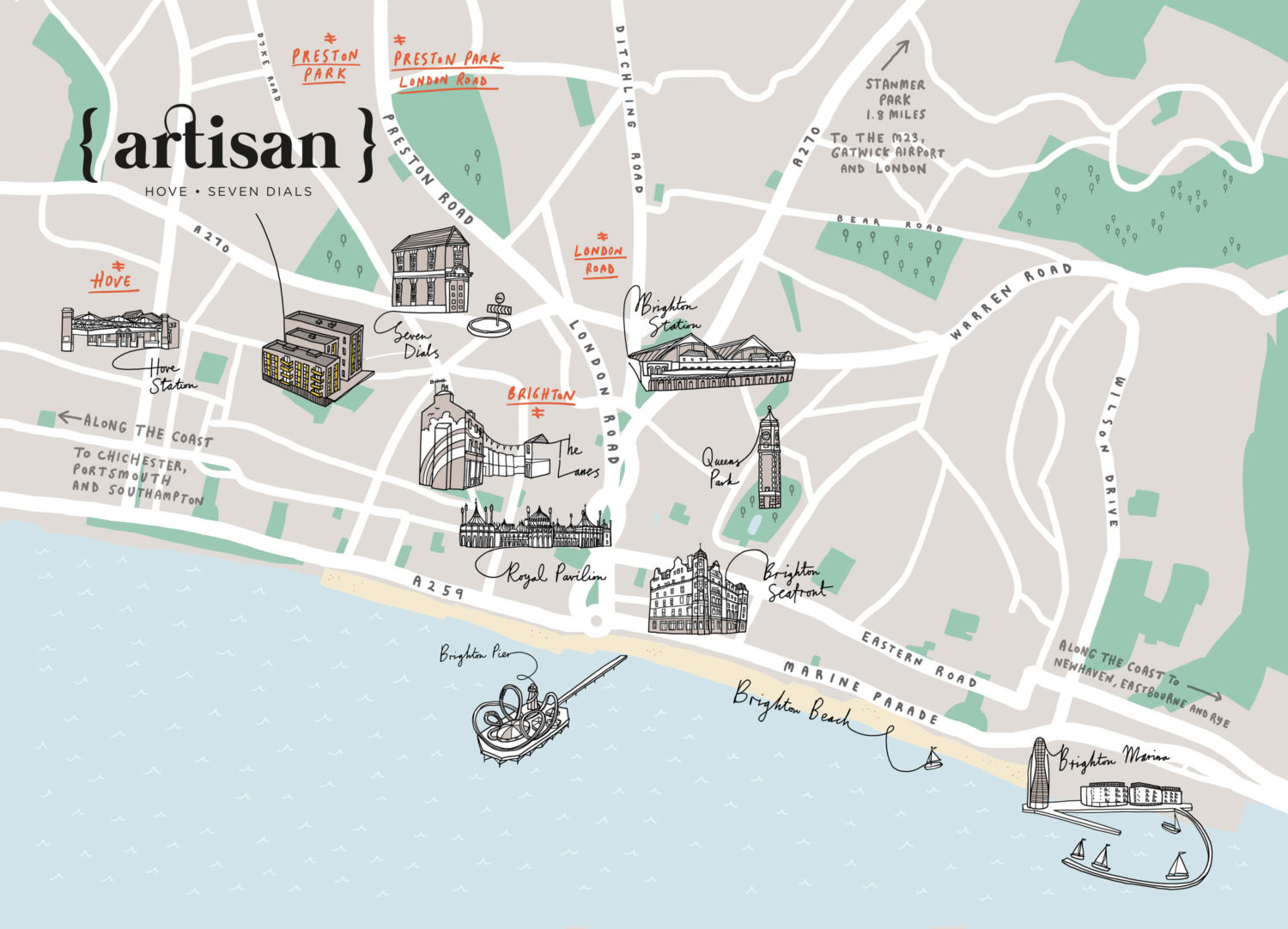 Artisan Hove Map illustration