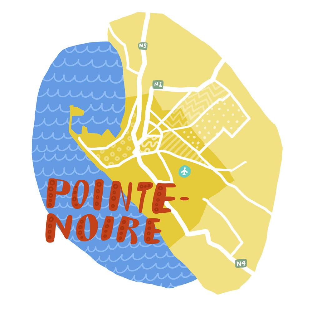 Map of Pointe-Noire, Republic of the Congo inspired by reading Black Moses by Alain Mabanckou