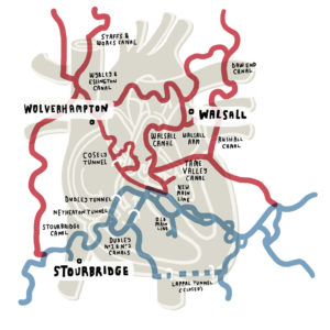 Map of the Birmingham Canal Network inspired by reading Hidden Nature by Alys Fowler
