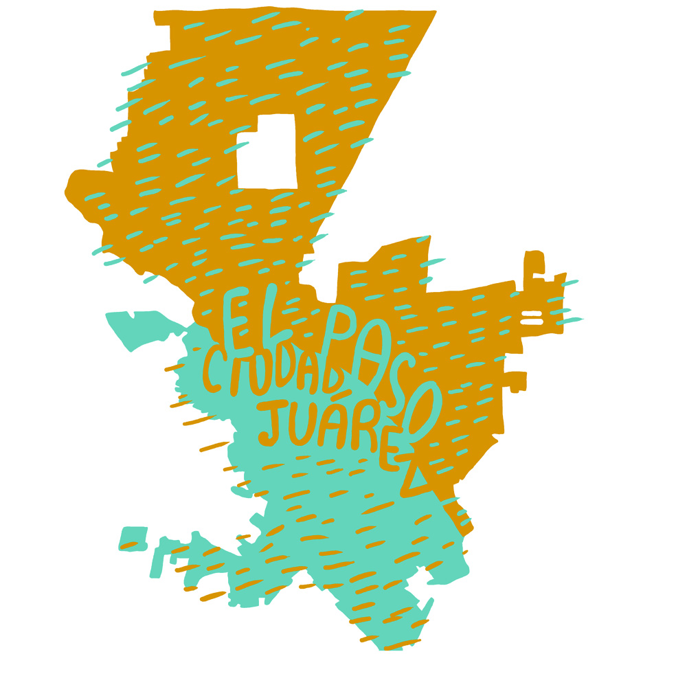 Map of El Paso, Texas, U.S. and Ciudad Juárez, Chihuahua, Mexico inspired by reading Tequila Sunset by Sam Hawken