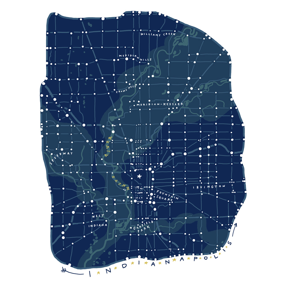 Map of Indianapolis, Indiana, U.S. inspired by reading Turtles All The Way Down by John Green