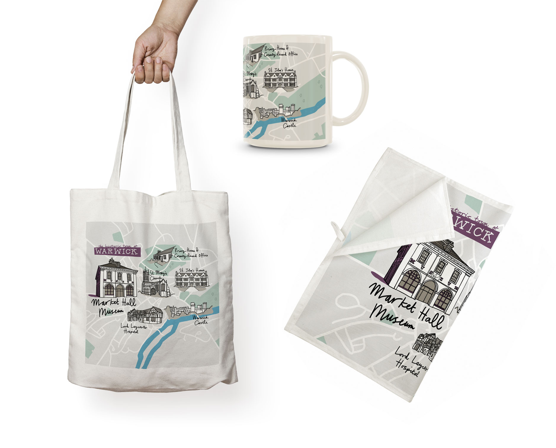 Warwick Museum Map Merchandise Bag Mug Towel