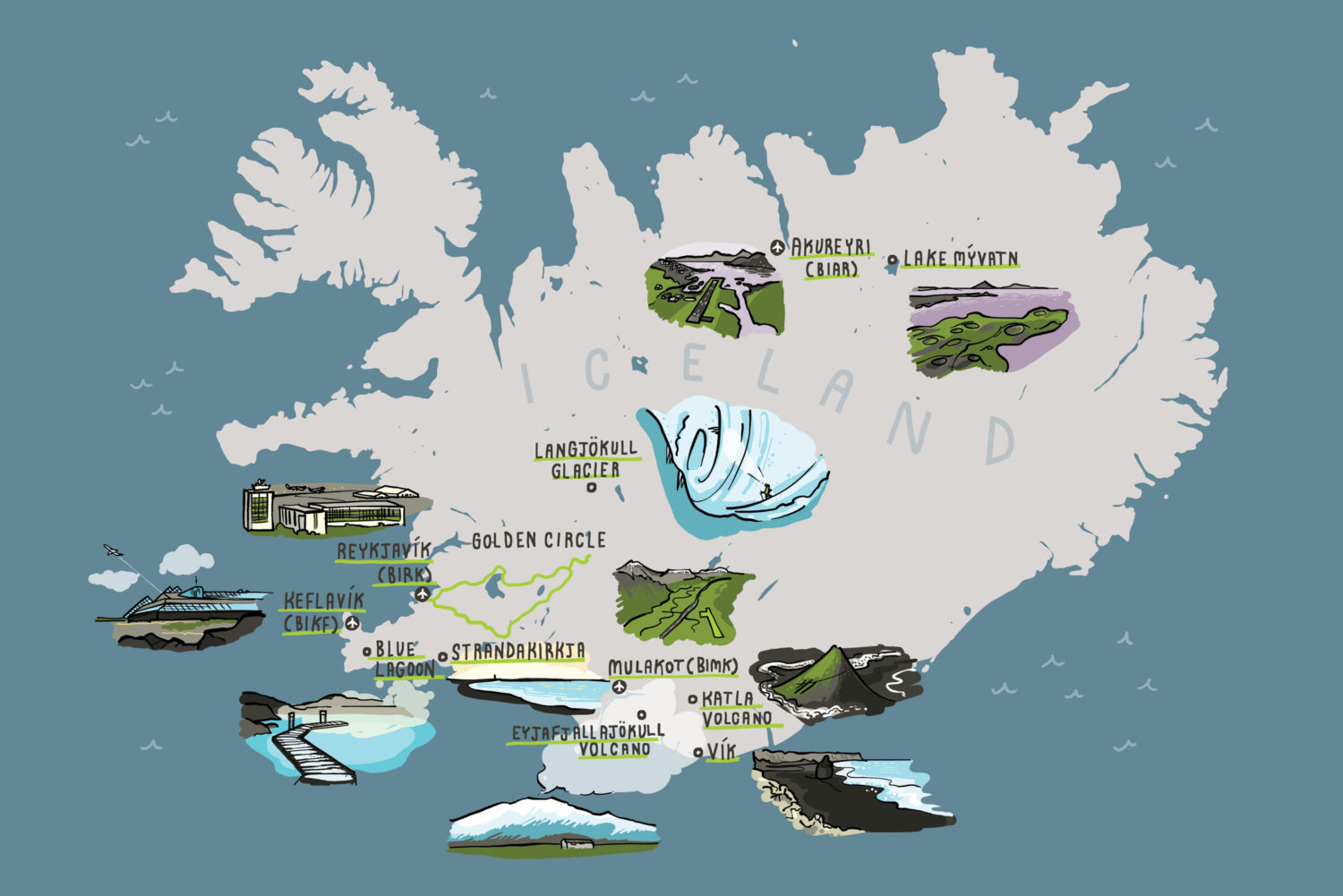 Illustrated map of Iceland for AOPA magazine