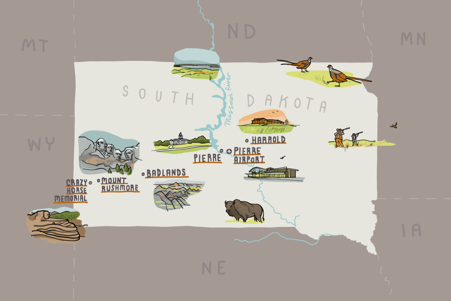 Illustrated map of South Dakota for AOPA magazine