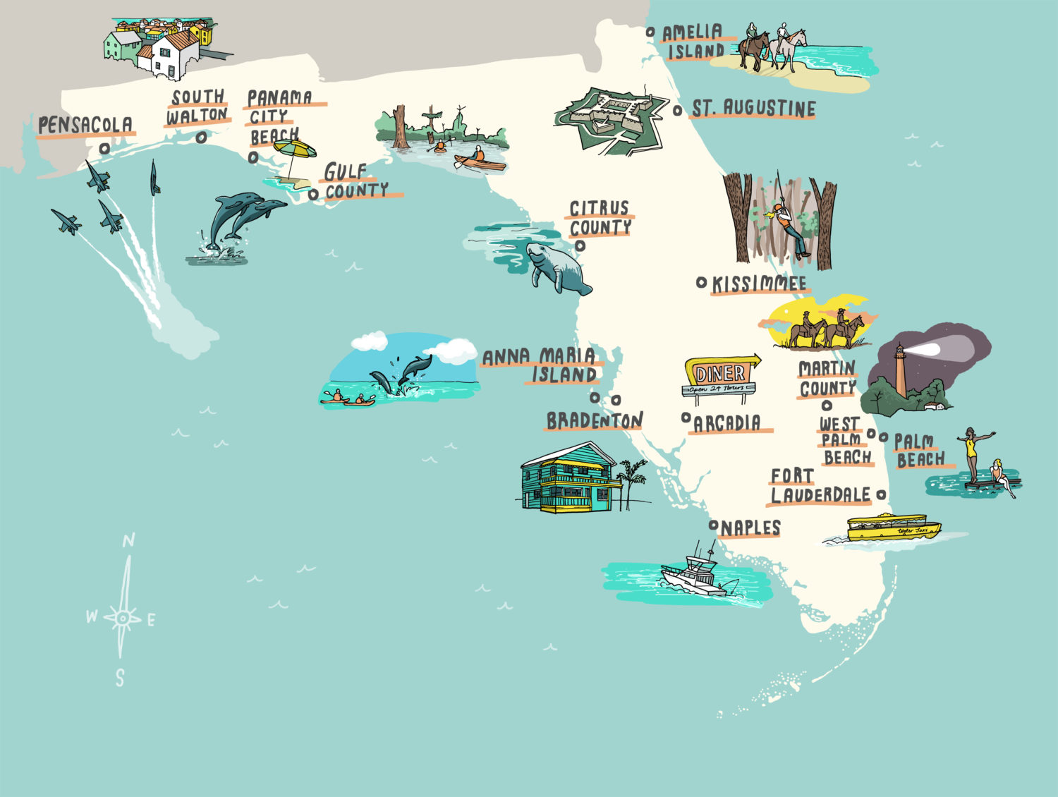 The Independent Visit Florida Illustrated Map