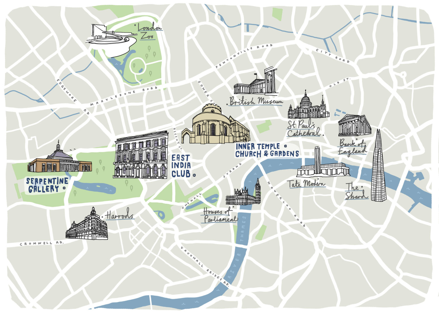 wedding map of london hyde park inner temple
