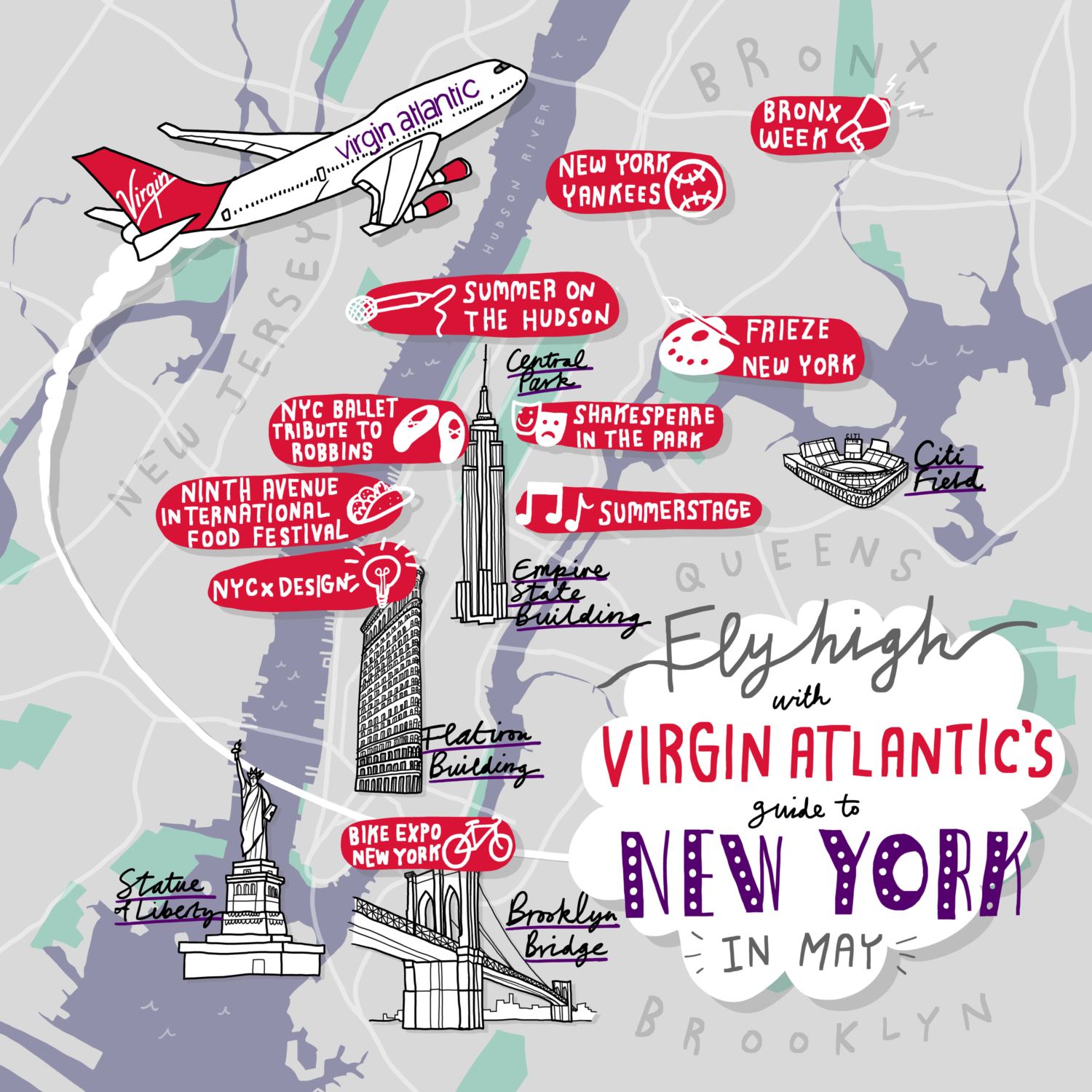 Virgin Atlantic Map NY