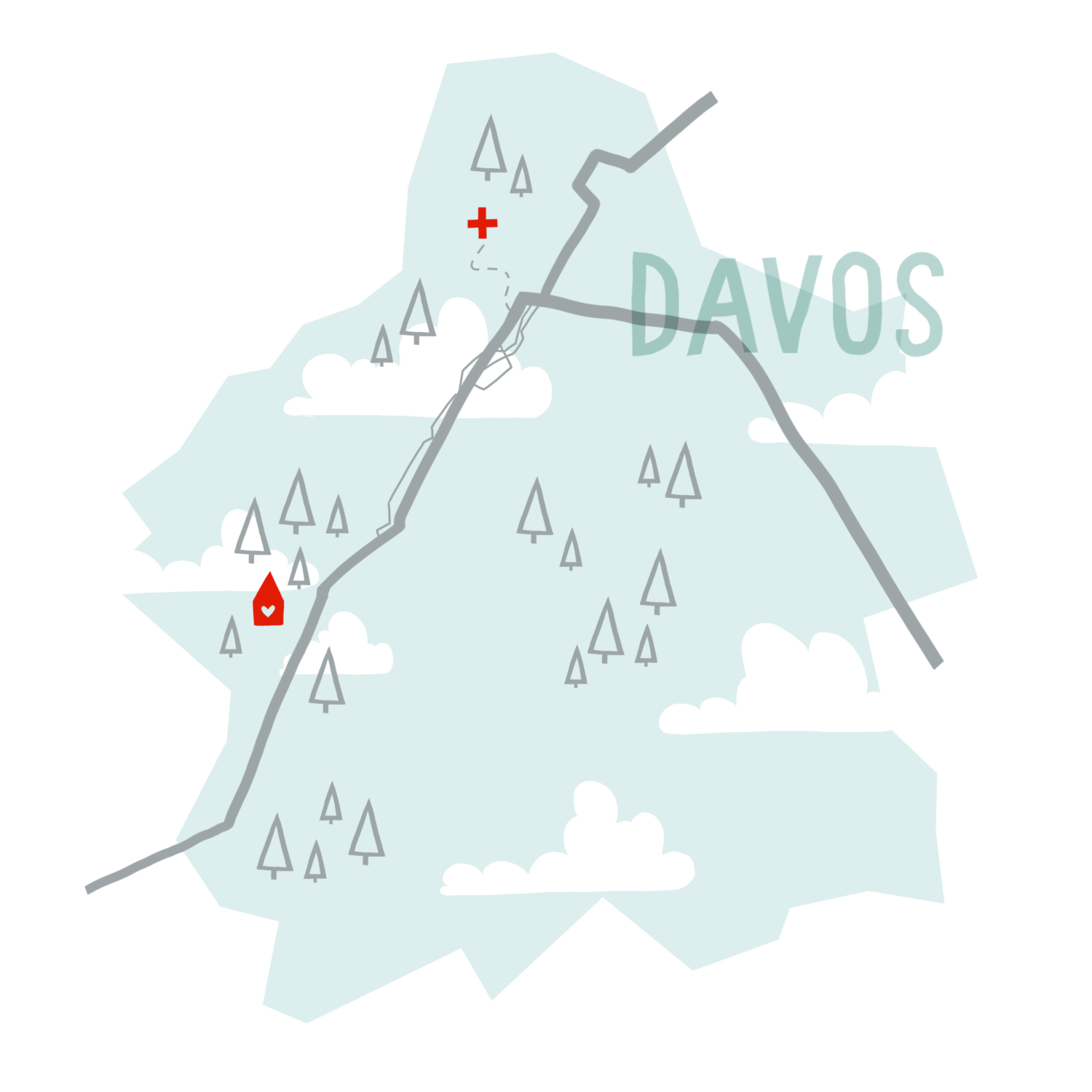 Map of Davos, Switzerland inspired by reading The Gustav Sonata by Rose Tremain