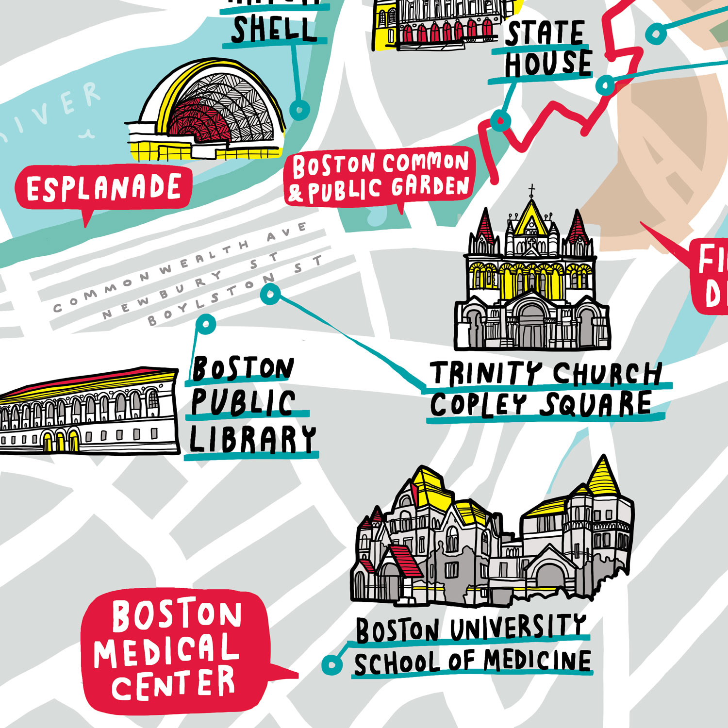 Boston University Campus Illustrated Map Trinity Church