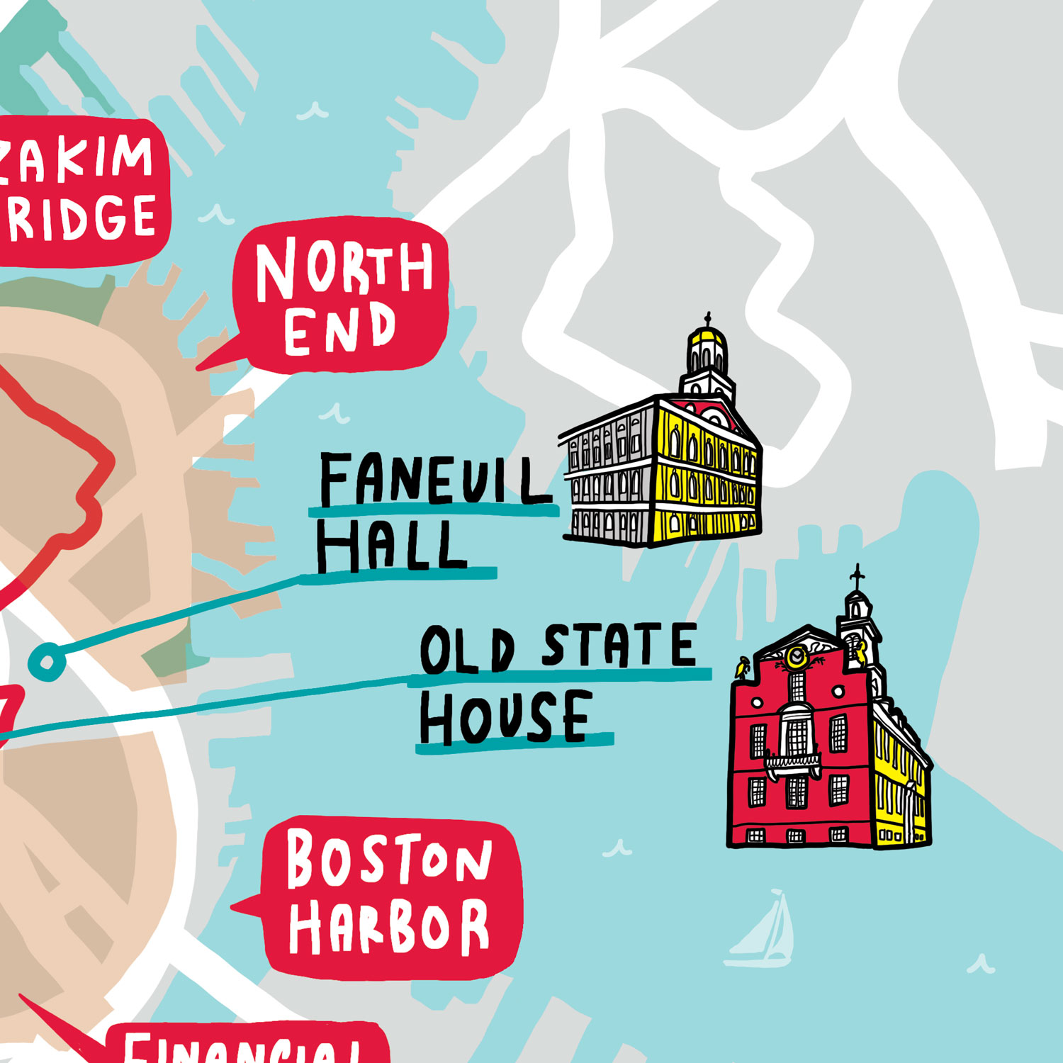 Boston University Campus Illustrated Map Faneuil Hall