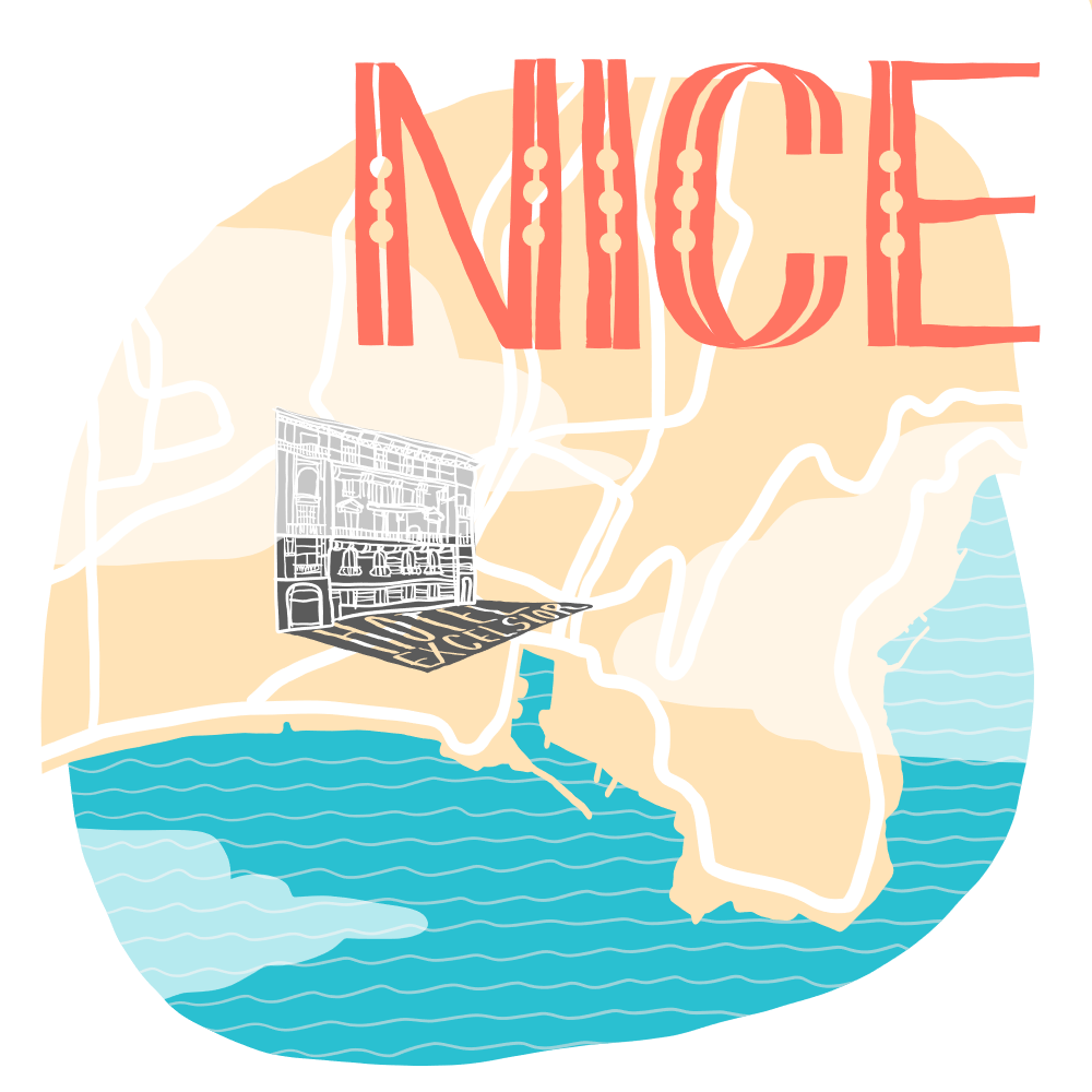 Illustrated map of Nice, France, inspired by reading Akin by Emma Donoghue
