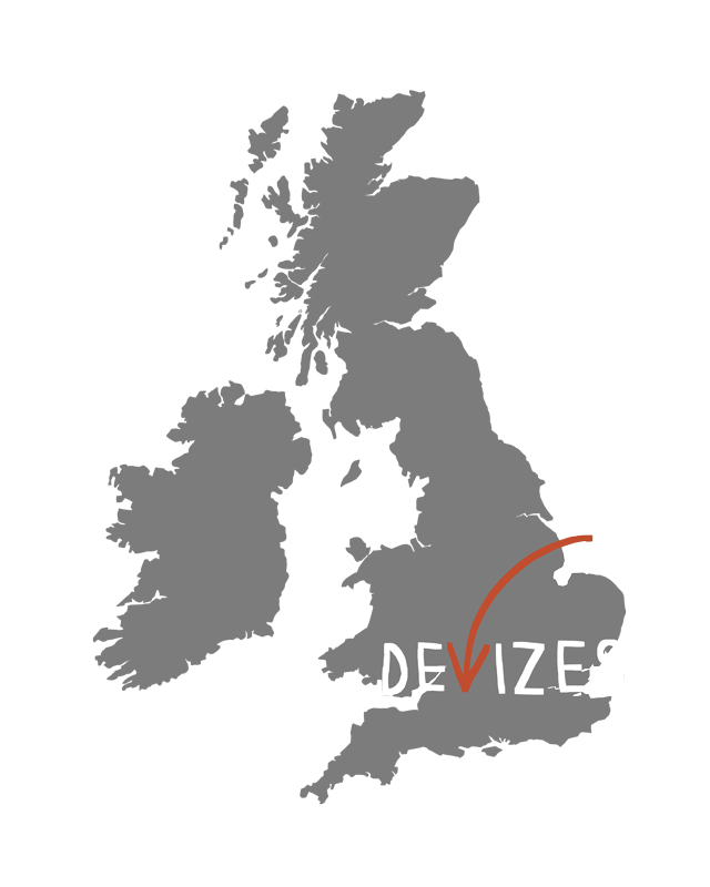 Map of British Isles showing Devizes to show location of Laura Barnard, illustrator