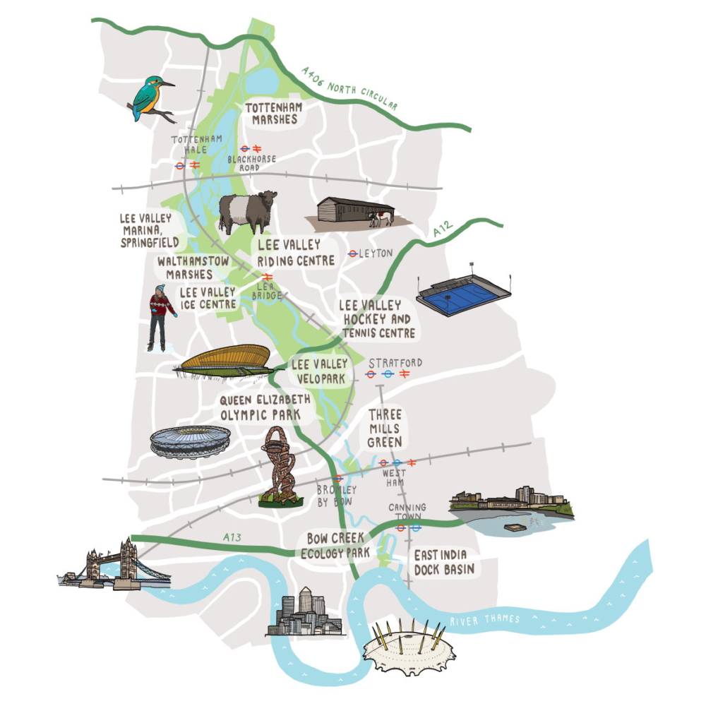 Illustrated map of Lee Valley Country Park Crop
