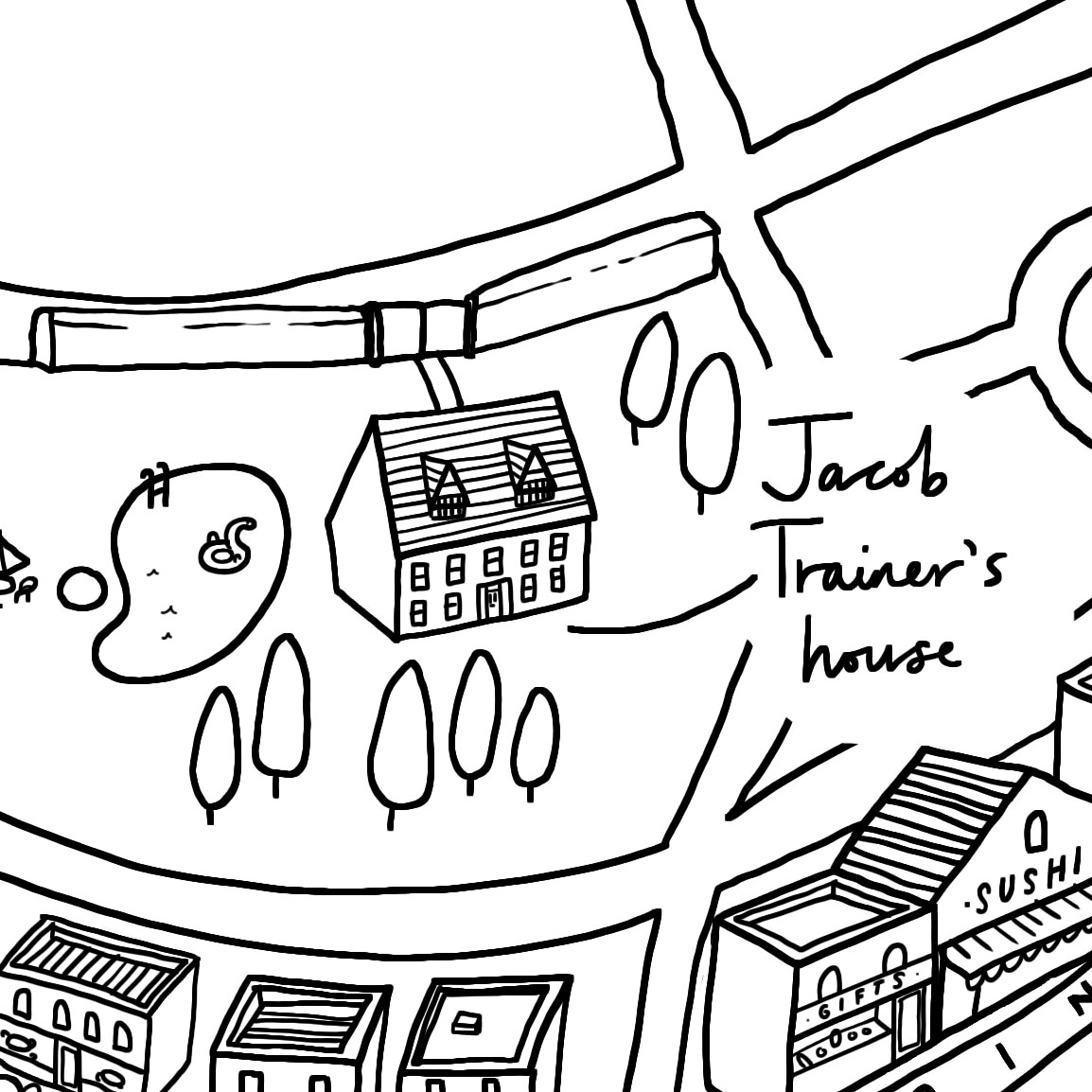 Crop of map of fictional Hamptons village for I Killed Zoe Spanos by Kit Frick