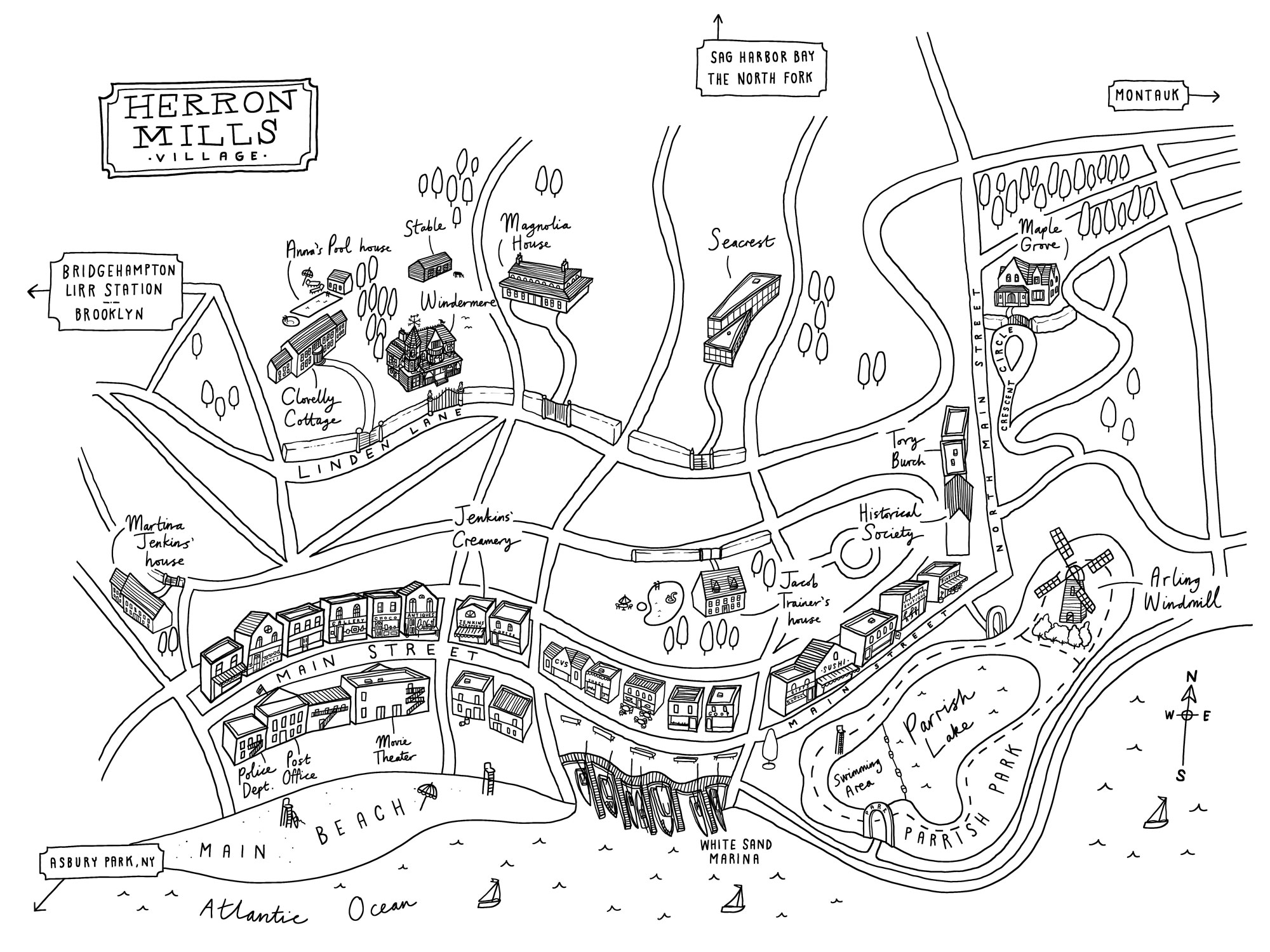 Map of fictional Hamptons village for I Killed Zoe Spanos by Kit Frick
